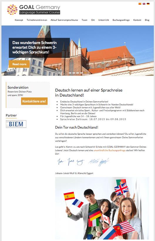 Screenshot GOAL Website