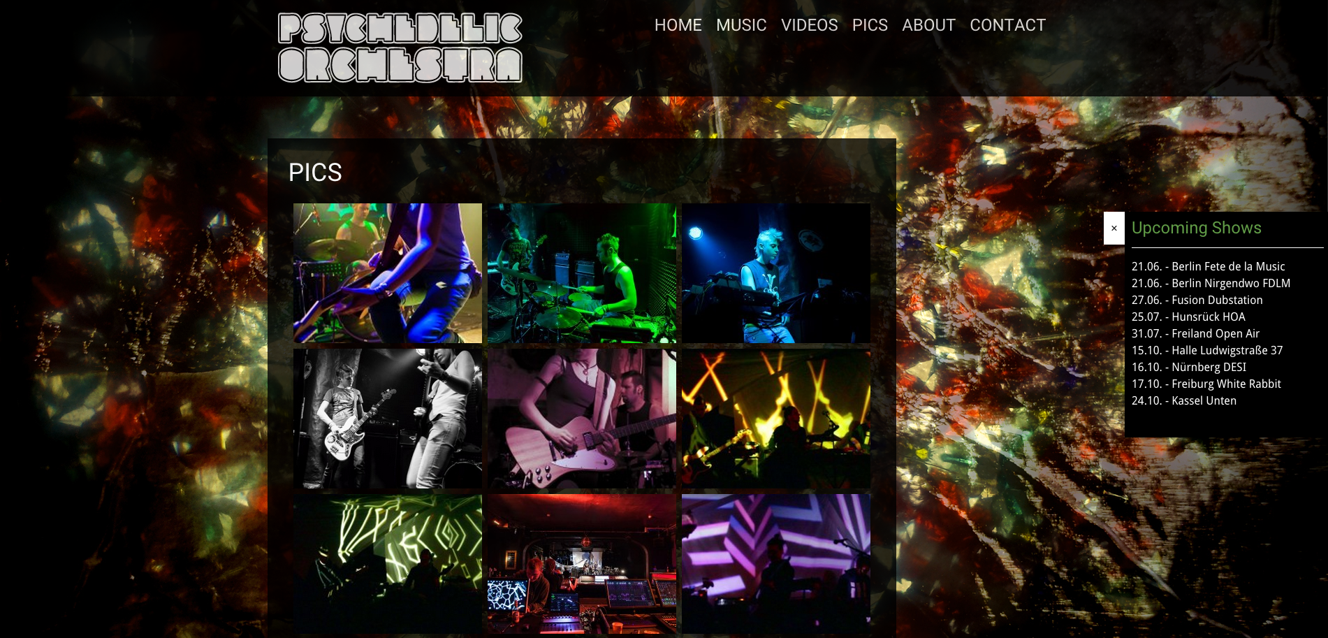 Screenshot Website Psychedelic Orchestra