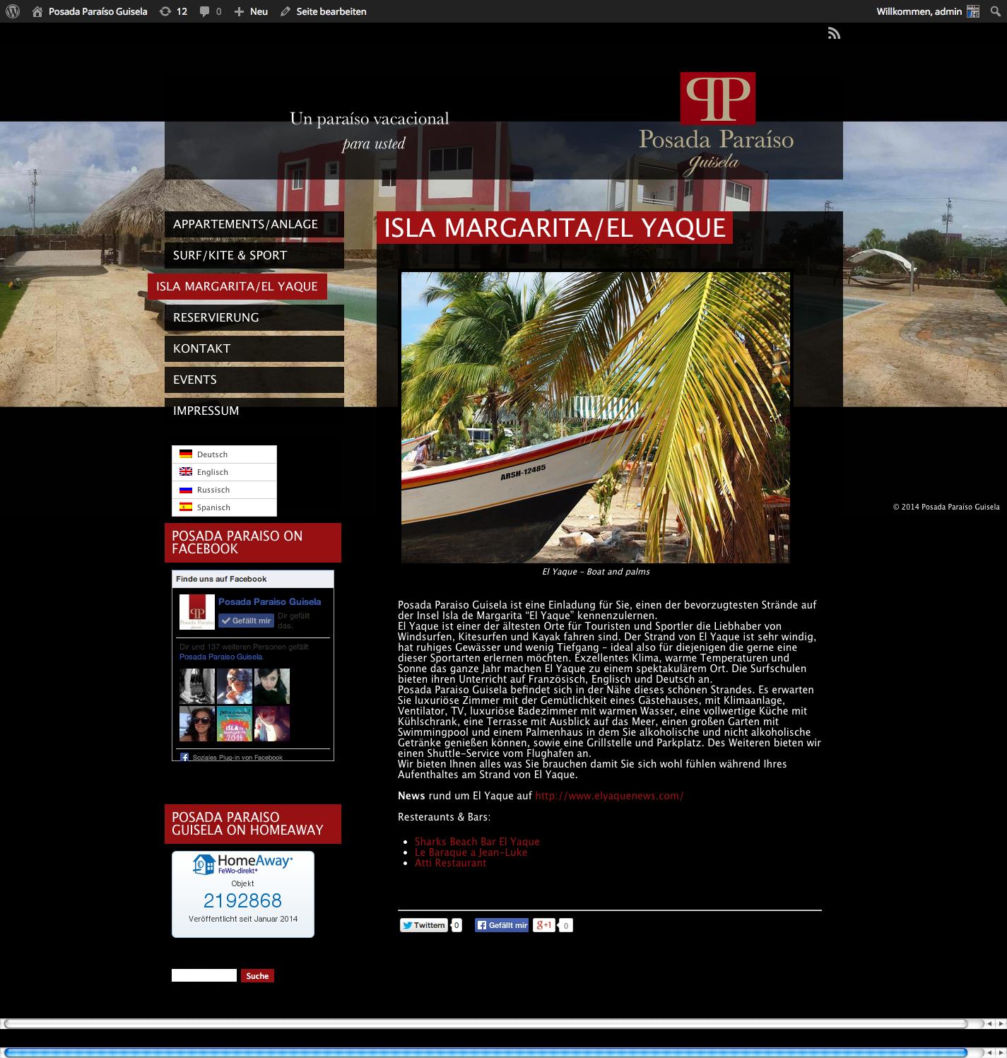 Webseite Posada Paraiso Guisela El Yaque