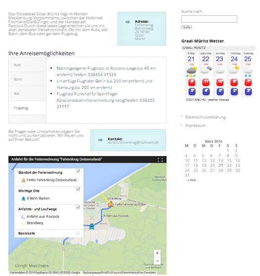 Screenshot: Anfahrt+Kontakt der Webseite Ferienwohnung Graal-Müritz