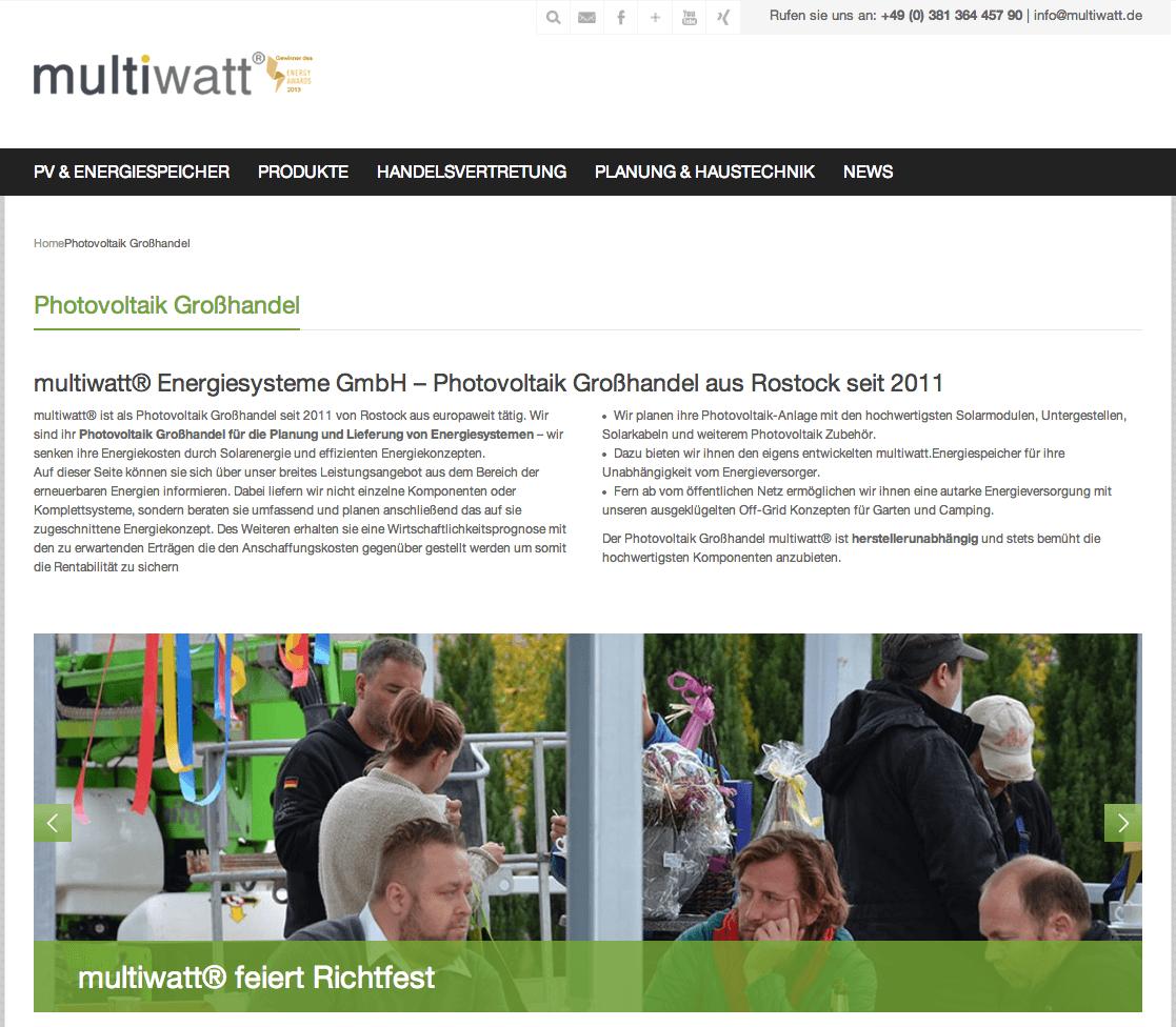 Screenshot Webseite multiwatt Energiesysteme GmbH