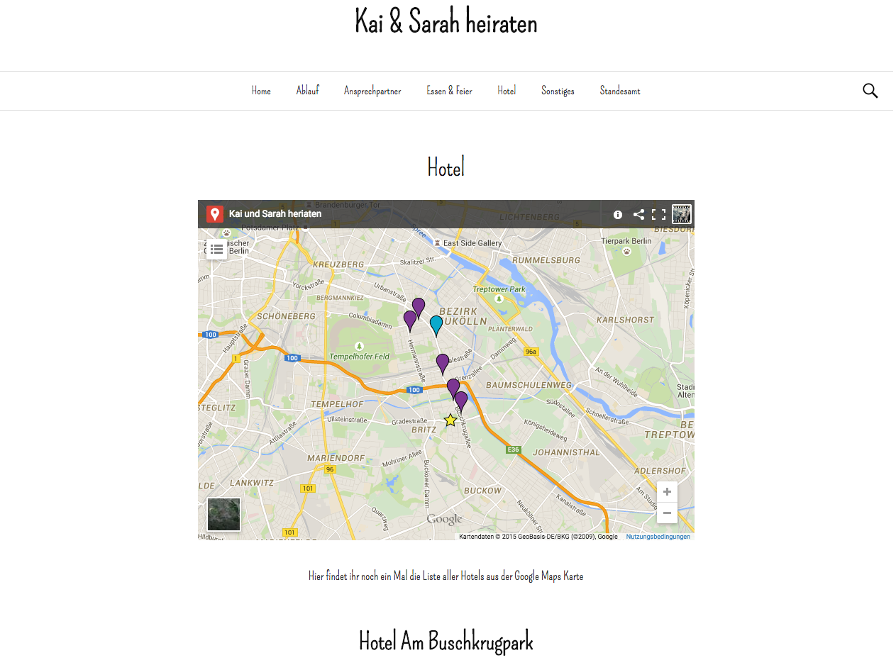 Screenshot Hochzeits Website