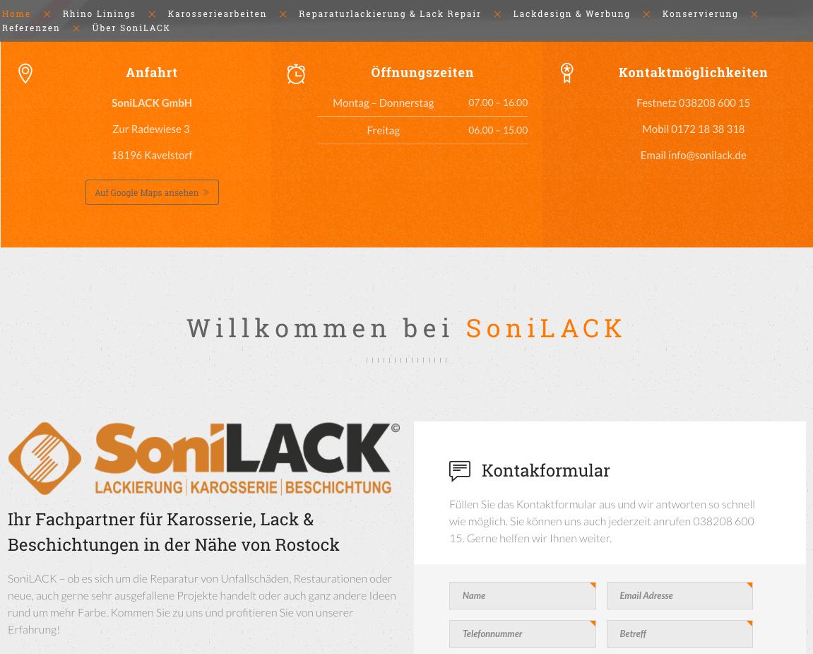 Screenshot Startseite Sonilack